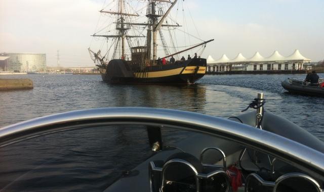 Filming safety boat london royal docks