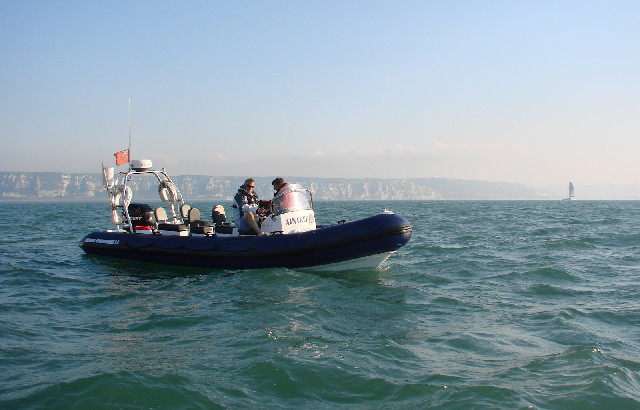 Safety boat arrives