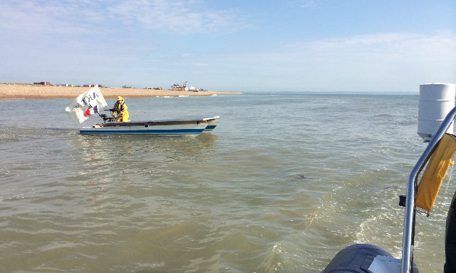 Solar powered boat leaving Dungeness en route to France